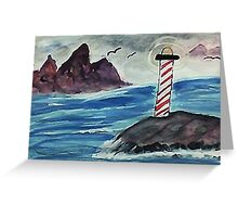 1st lighthouse, revised, watercolor Greeting Card
