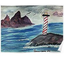 1st lighthouse, revised, watercolor Poster