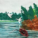 Fishing  day!  revised, watercolor by Anna  Lewis