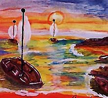 Into the cove, revised, watercolor by Anna  Lewis
