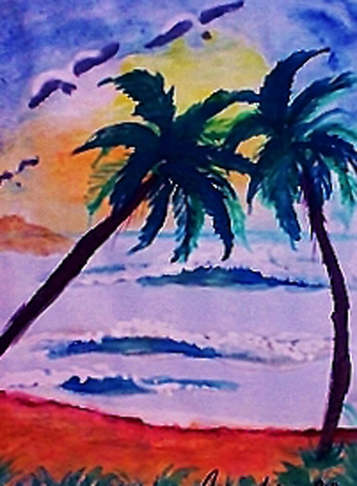 A day at the sea, watercolor by Anna  Lewis, blind artist