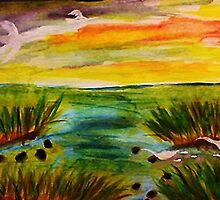 Busy day at the marsh, revised, watercolor by Anna  Lewis
