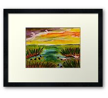 Busy day at the marsh, revised, watercolor Framed Print