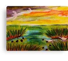Busy day at the marsh, revised, watercolor Canvas Print