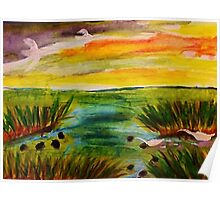 Busy day at the marsh, revised, watercolor Poster