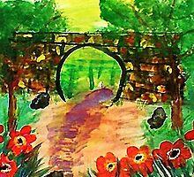 Path under bridge, revised, watercolor by Anna  Lewis