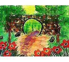 Path under bridge, revised, watercolor Photographic Print