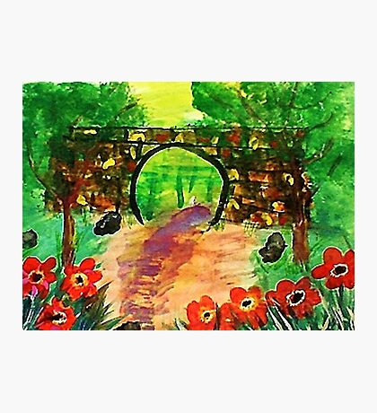 Path under bridge, revised, watercolor Photographic Print