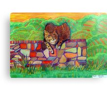 359 - CAT ON A DRY-STONE WALL - DAVE EDWARDS - COLOURED PENCILS - 2012 Canvas Print
