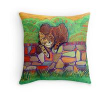 359 - CAT ON A DRY-STONE WALL - DAVE EDWARDS - COLOURED PENCILS - 2012 Throw Pillow