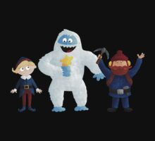 Yukon, Hermey and the Bumble in Teal Kids Tee