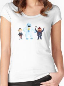 Yukon, Hermey and the Bumble in Teal Women's Fitted Scoop T-Shirt