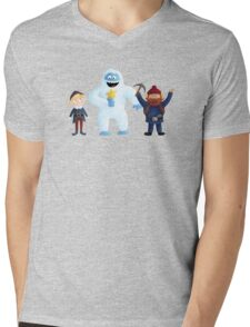 Yukon, Hermey and the Bumble in Teal Mens V-Neck T-Shirt