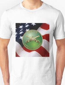 U.S. Army Armor - Branch Insignia over U. S. Flag T-Shirt