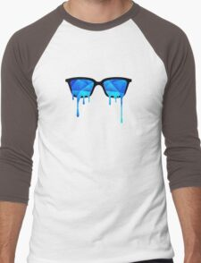 Abstract Polygon Multi Color Cubizm Painting in ice blue Men's Baseball ¾ T-Shirt