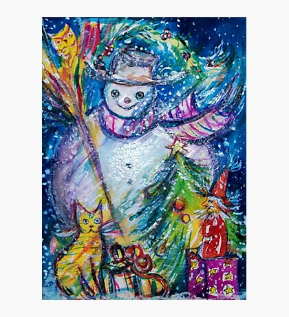 SNOWMAN WITH CHRISTMAS TREE, OWL AND TOYS Photographic Print
