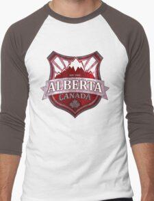Alberta Canada red grunge shield Men's Baseball ¾ T-Shirt