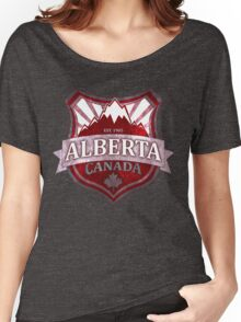 Alberta Canada red grunge shield Women's Relaxed Fit T-Shirt