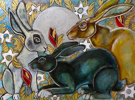 Three Moon Gazing Hares by Lynnette Shelley