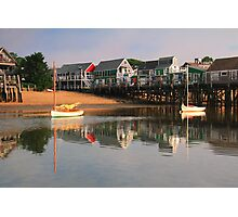 Sailboats and Provincetown Harbor Waterfront  Photographic Print