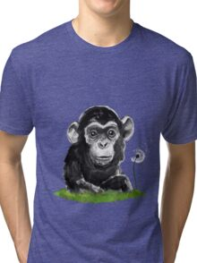 Monkey with Dandelion Tri-blend T-Shirt