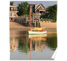 Catboat and rippled water reflections Poster