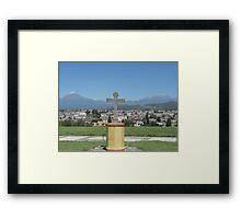 Cross with 2 Volcanoes Framed Print