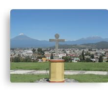 Cross with 2 Volcanoes Canvas Print