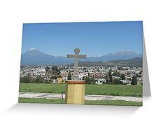 Cross with 2 Volcanoes Greeting Card