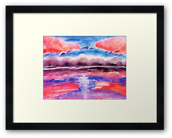 #3 Pink sunset in abstract, revised, watercolor by Anna  Lewis, blind artist