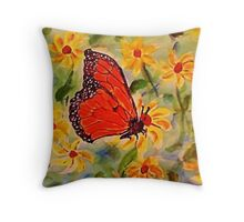 Monarch in the flowers, revised, watercolor Throw Pillow