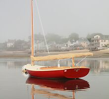 Red Catboat on Provincetown Harbor by Roupen  Baker
