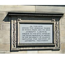 Tribute to Joseph Lister Photographic Print