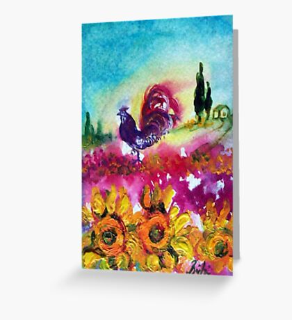 SUNFLOWERS, POPPIES AND BLACK ROOSTER IN BLUE SKY Greeting Card
