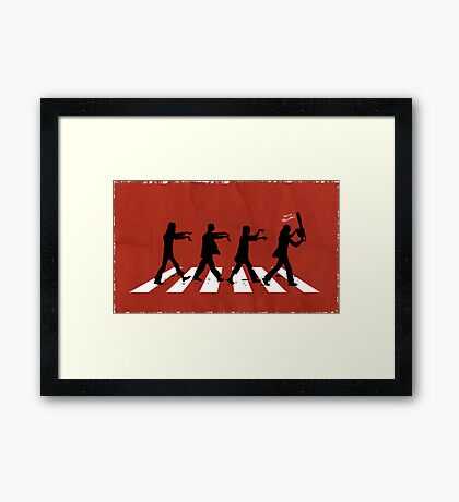 Zombies on Abbey Road (Version 02) Framed Print