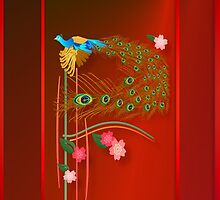 Flying Peacock and Cherry Blossoms by Lotacats