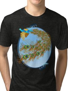 Flying Peacock and Cherry Blossoms Tri-blend T-Shirt