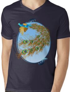 Flying Peacock and Cherry Blossoms Mens V-Neck T-Shirt