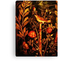 POMPEII COLLECTION NIGHTINGALE WITH RED ROSES Canvas Print