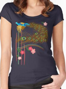 Flying Peacock and Cherry Blossoms Women's Fitted Scoop T-Shirt