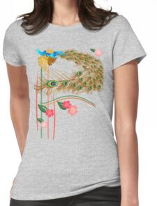 Flying Peacock and Cherry Blossoms Womens Fitted T-Shirt