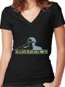 Klaatu Barada Nikto Women's Fitted V-Neck T-Shirt