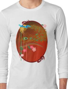 Flying Peacock and Cherry Blossoms Long Sleeve T-Shirt