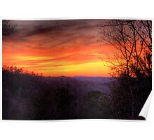 Red sky over winter gray Poster