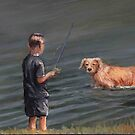 Little Fisherman with Golden Retriever by Charlotte Yealey