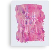 You Are Beautiful Quote Canvas Print