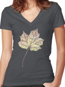 Fall Leaf Women's Fitted V-Neck T-Shirt