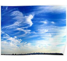 Drifting clouds over New York City  Poster