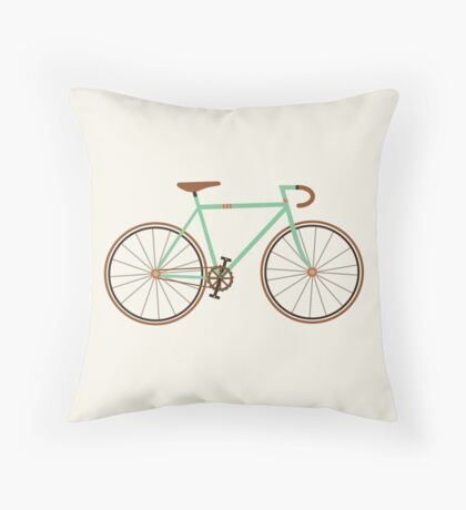Green Fixie Throw Pillow