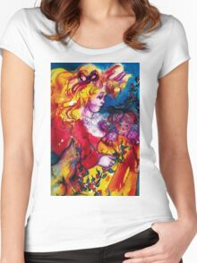 LITTLE GIRL WITH CHRISTMAS GIFTS , PRETTY DOLL AND CAT   Women's Fitted Scoop T-Shirt
